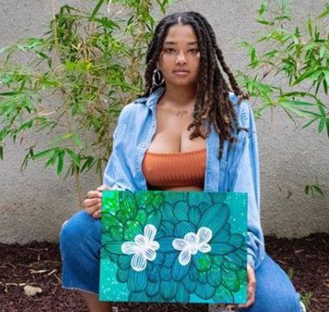 Tanita Strahan flaunting her artwork.