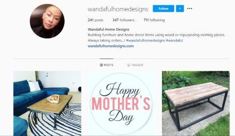 Wanda Hutchins' Interior Design Insta page bio.