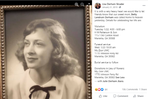 Julie's sister posts about their mother's demise.