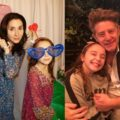 A collage of Charley Nash with her mom and with her dad.