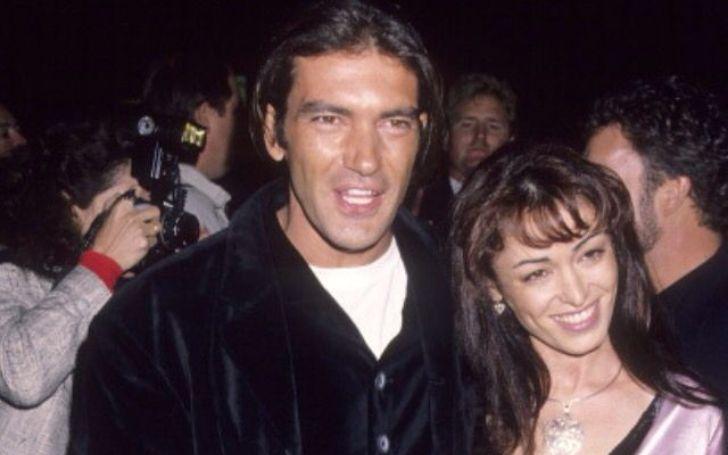 An old photo of Antonio Banderas and Ana Leza.
