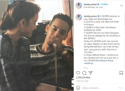 Daddy Yankee's 25th Anniversary Instagram Post.