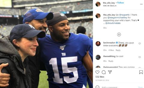 An Instagram post showing Elisa and Keegan-Michael Key with NY Giants' Golden Tate.