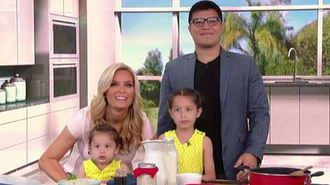 Jackie and Eddi Ibanez with their kids at Cooking with 'Friends'.