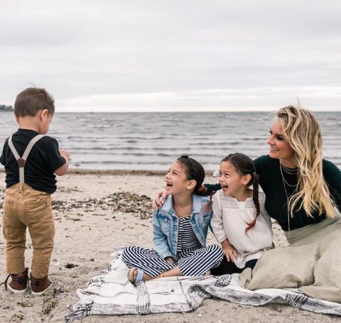 Jackie Ibanez with her kids at the beach.