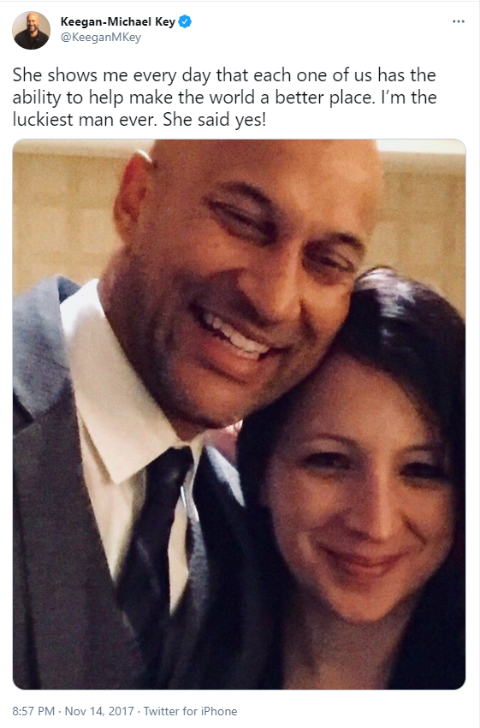 Keegan-Michael Key's twitter post after his engagement with Elisa Pugliese.
