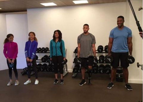 Michael Strahan and His Kids Working Out.