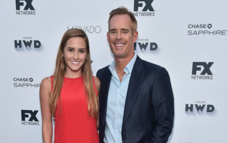 Trudy Buck with her dad Joe Buck in a red carpet event.
