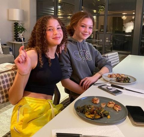 Isabella and Sophia Strahan dining.
