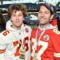 A photo of Jack Sullivan Rudd and father Paul Rudd at the NFL finanl 2020.