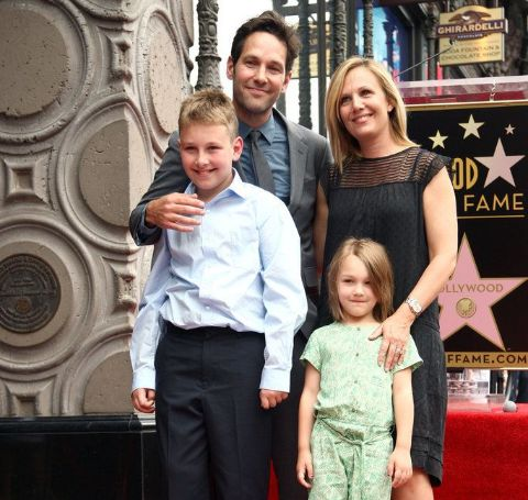 Jack Sullivan Rudd with his family at the Hollywood Walk of Fame.