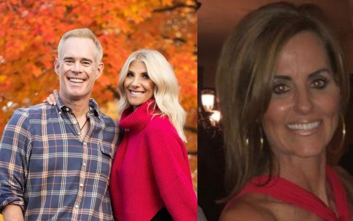 A collage of Joe Buck with his current wife and previous partner.