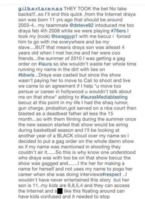 Gilbert Arenas' Instagram Post Snap.